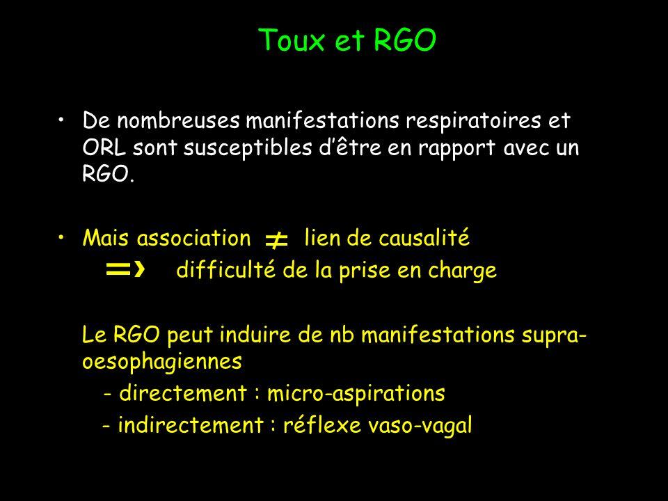 Toux et RGO De nombreuses manifestations respiratoires et ORL sont susceptibles d'être en rapport avec un RGO.