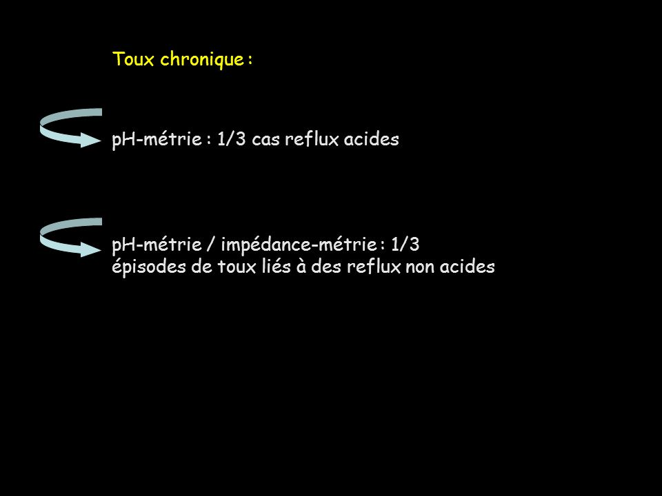 Toux chronique : pH-métrie : 1/3 cas reflux acides.