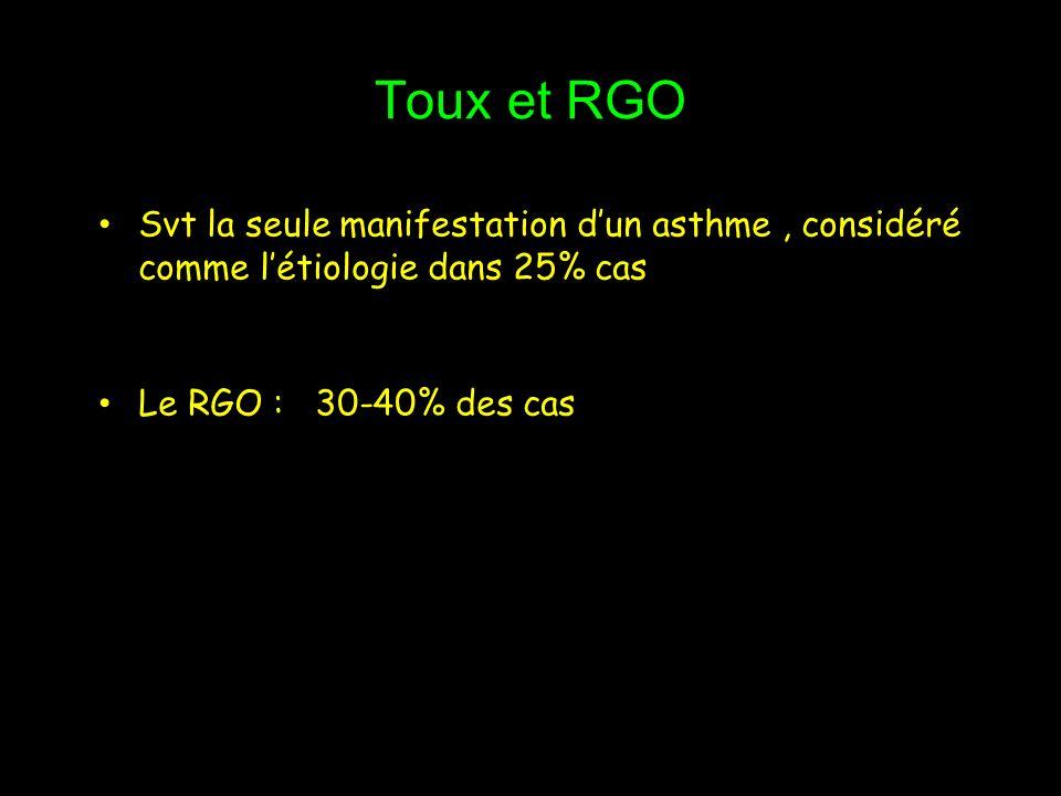 Toux et RGO Svt la seule manifestation d'un asthme , considéré comme l'étiologie dans 25% cas.