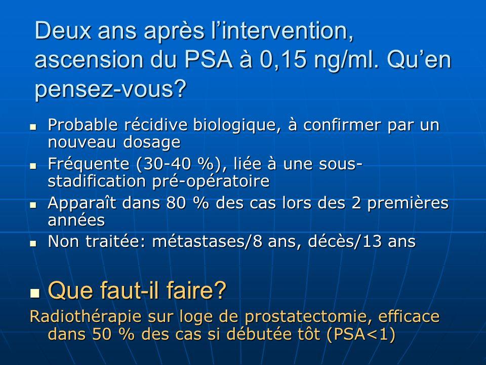 Deux ans après l'intervention, ascension du PSA à 0,15 ng/ml