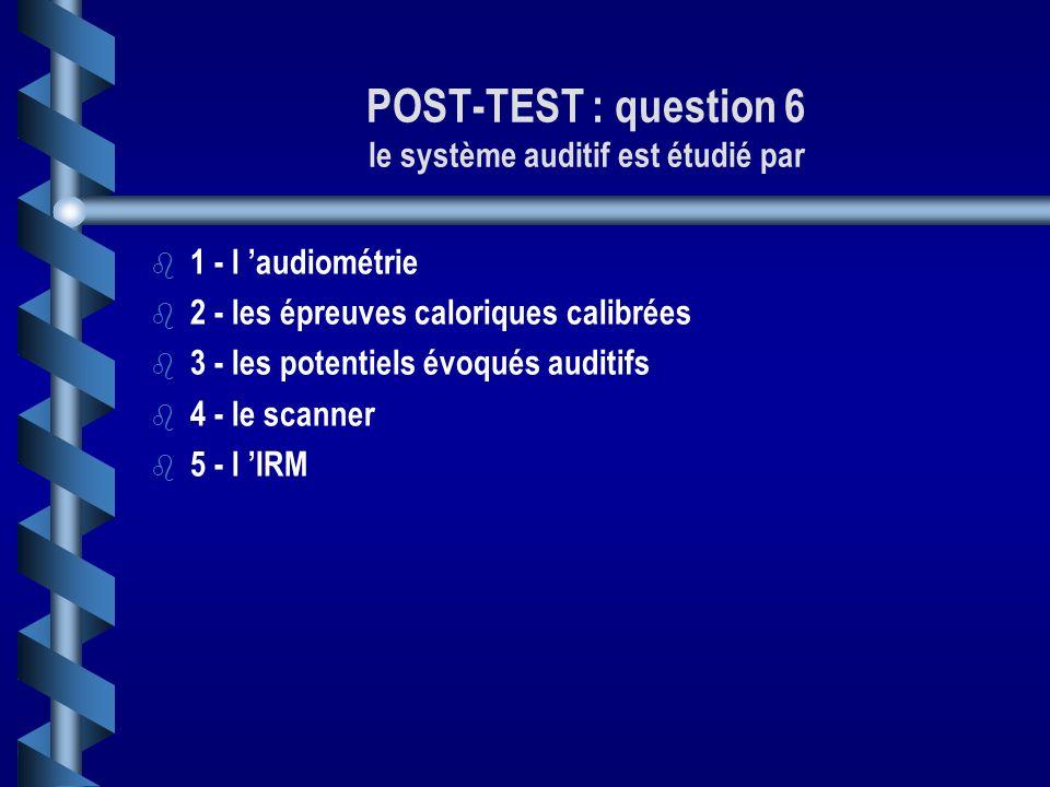 POST-TEST : question 6 le système auditif est étudié par