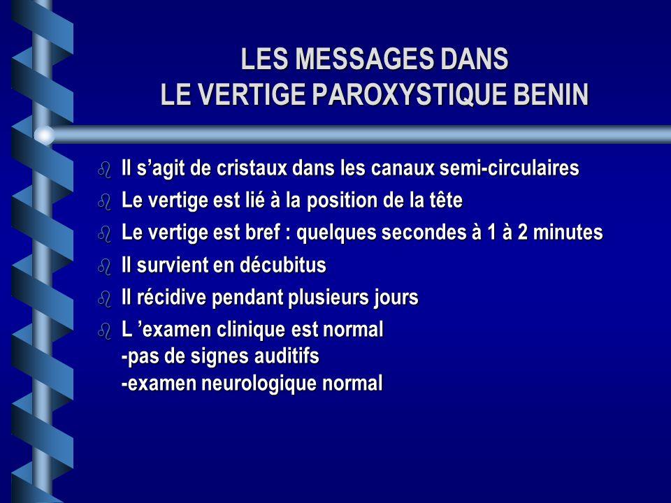 LES MESSAGES DANS LE VERTIGE PAROXYSTIQUE BENIN