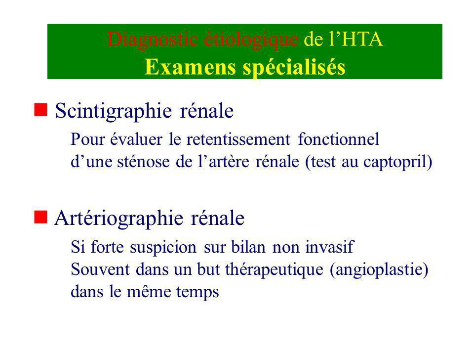 Diagnostic étiologique de l'HTA Examens spécialisés