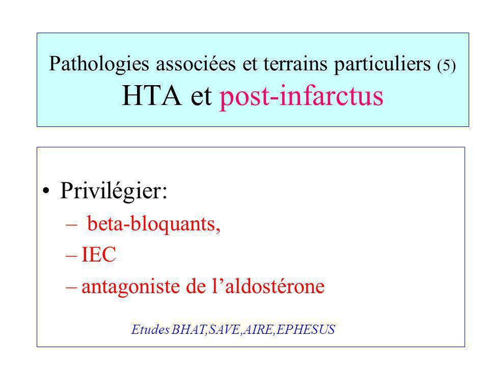 Pathologies associées et terrains particuliers (5) HTA et post-infarctus