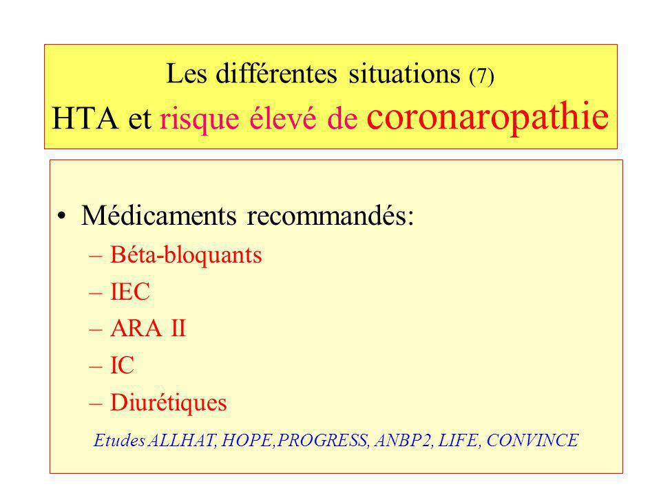 Les différentes situations (7) HTA et risque élevé de coronaropathie