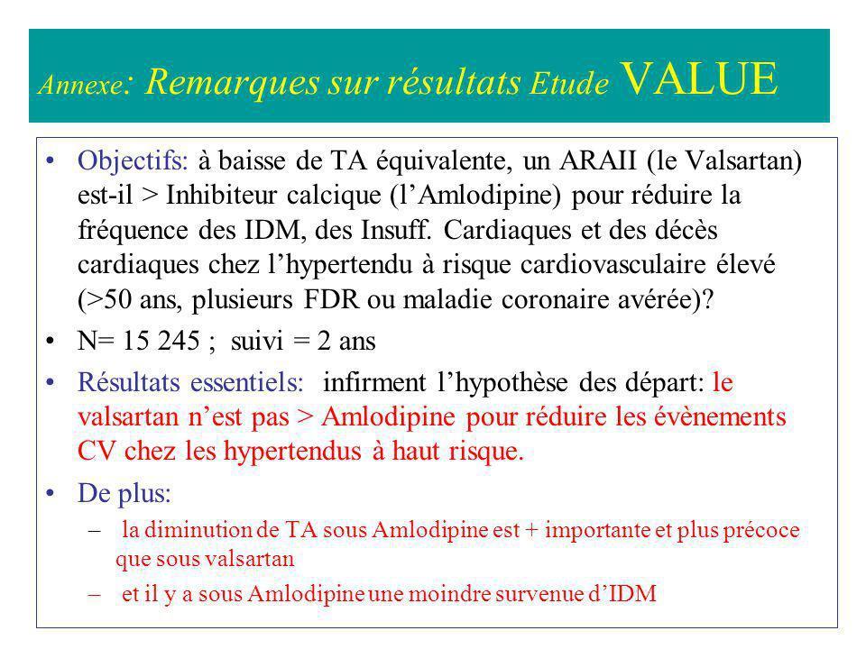 Annexe: Remarques sur résultats Etude VALUE