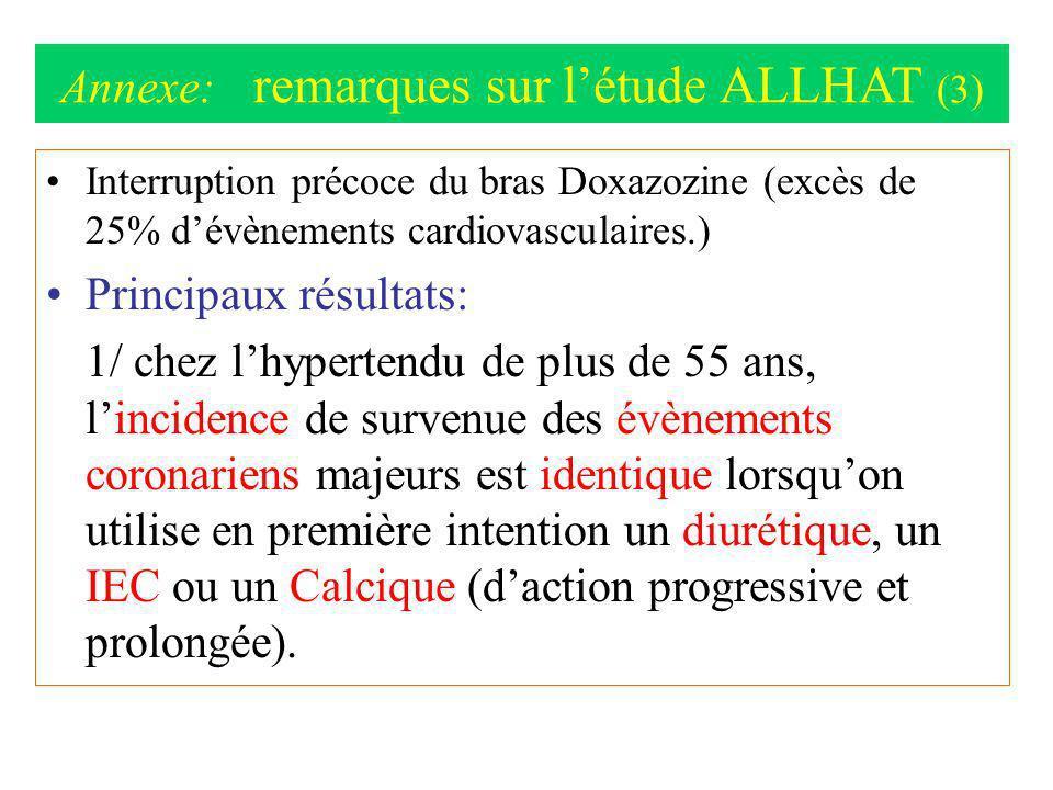 Annexe: remarques sur l'étude ALLHAT (3)