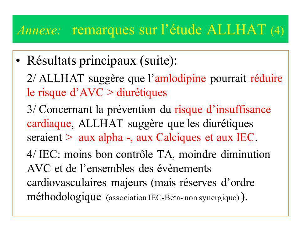 Annexe: remarques sur l'étude ALLHAT (4)