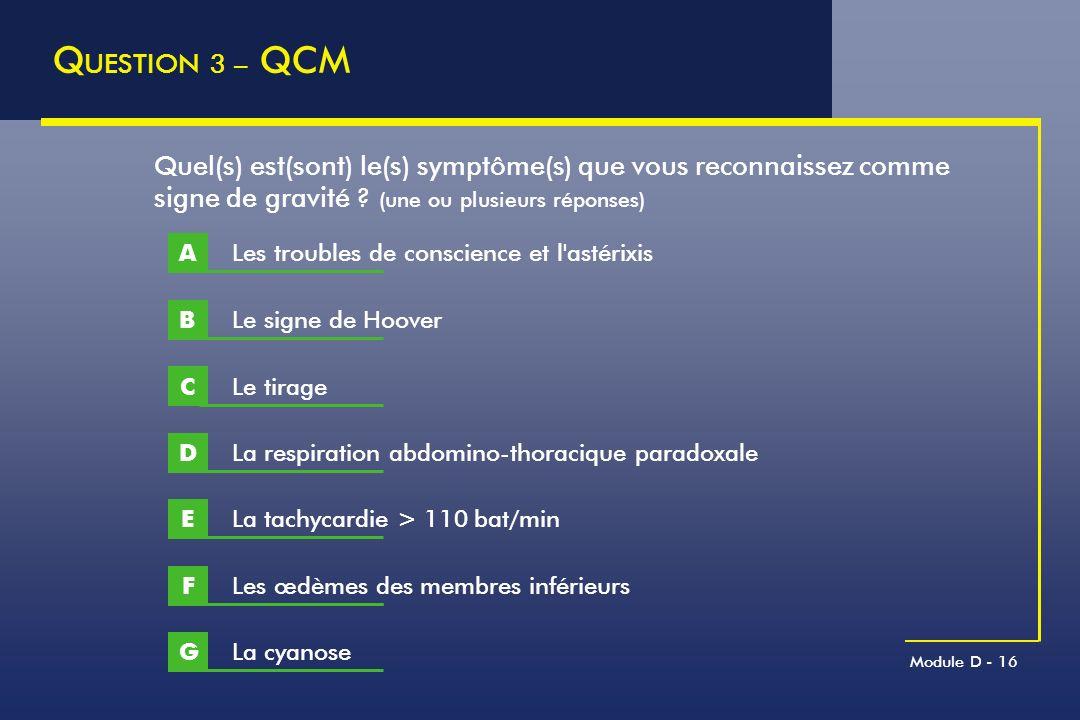 QUESTION 3 – QCM Quel(s) est(sont) le(s) symptôme(s) que vous reconnaissez comme signe de gravité (une ou plusieurs réponses)