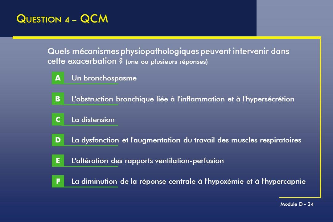 QUESTION 4 – QCM Quels mécanismes physiopathologiques peuvent intervenir dans cette exacerbation (une ou plusieurs réponses)