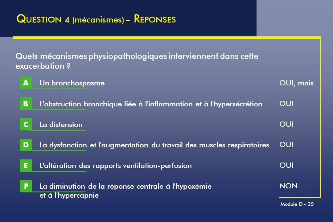 QUESTION 4 (mécanismes) – REPONSES
