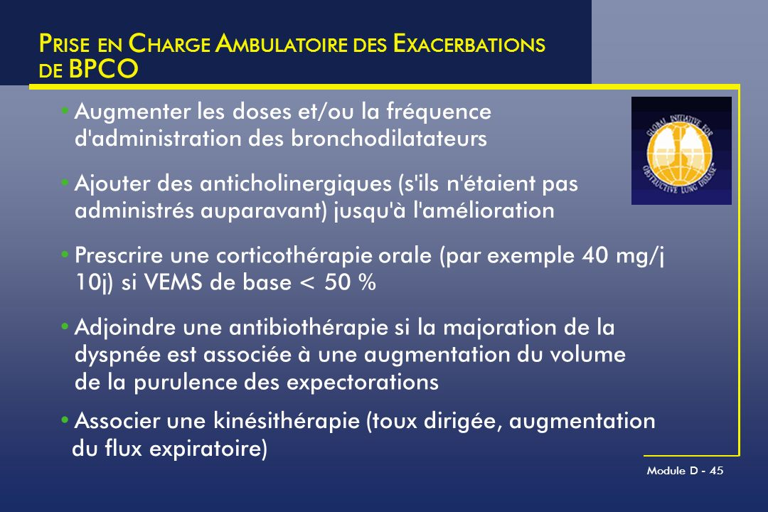 PRISE EN CHARGE AMBULATOIRE DES EXACERBATIONS DE BPCO