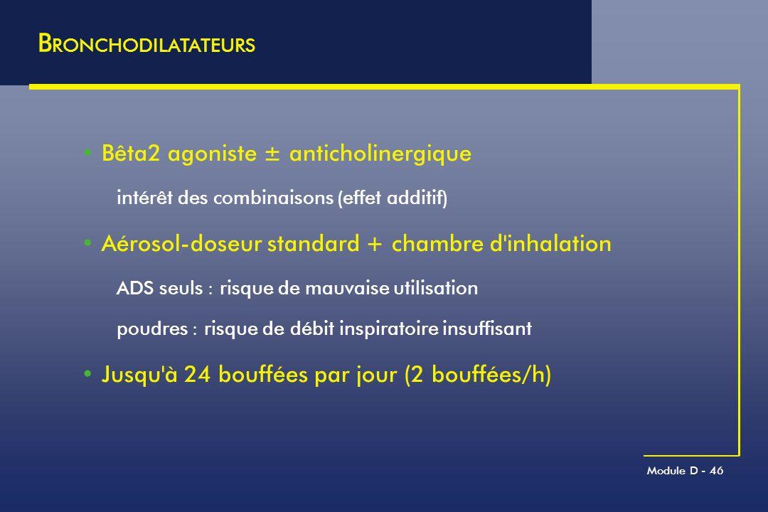 BRONCHODILATATEURS Bêta2 agoniste ± anticholinergique