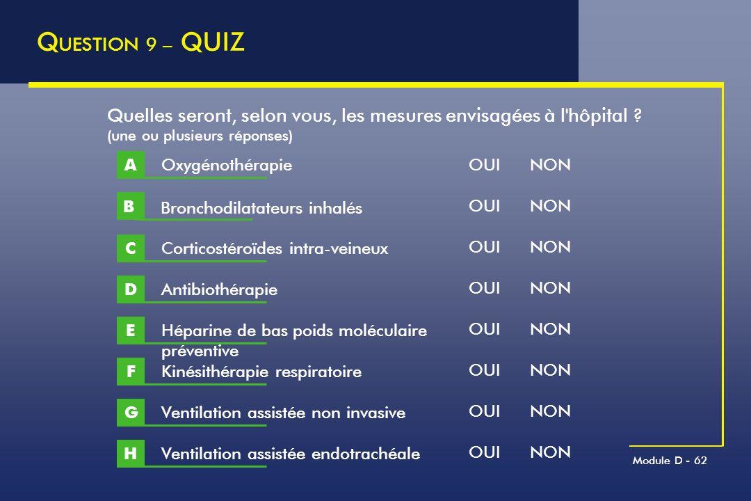 QUESTION 9 – QUIZ Quelles seront, selon vous, les mesures envisagées à l hôpital (une ou plusieurs réponses)