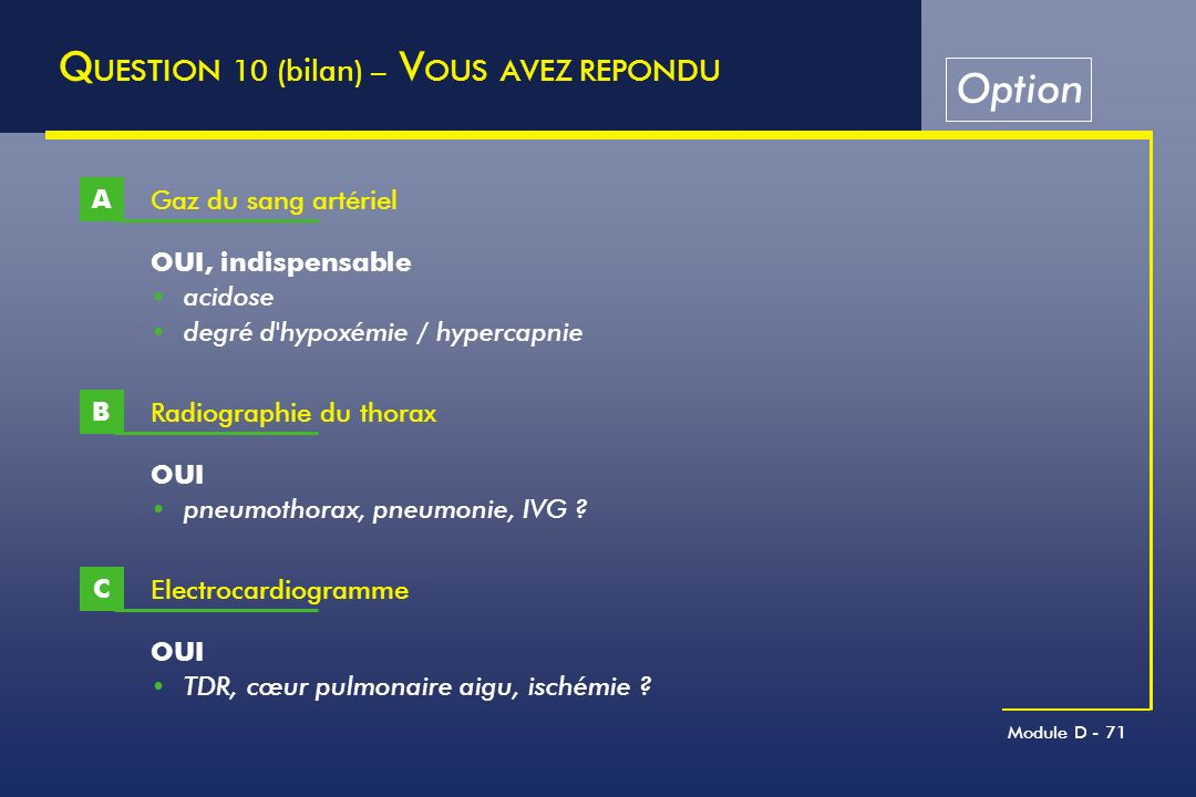 QUESTION 10 (bilan) – VOUS AVEZ REPONDU Option