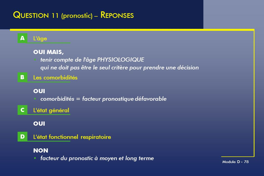 QUESTION 11 (pronostic) – REPONSES