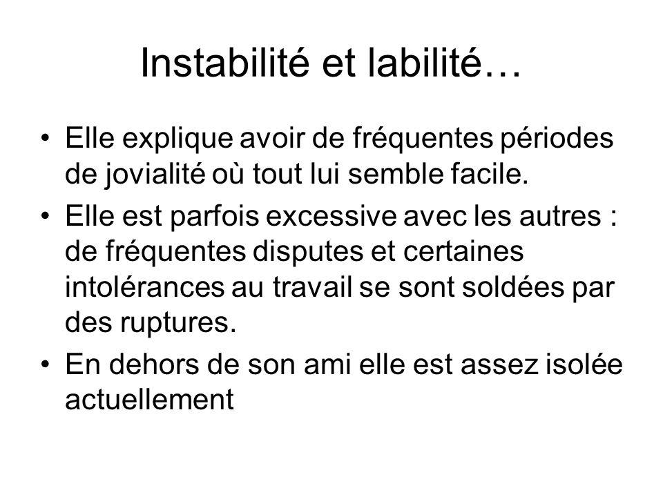 Instabilité et labilité…
