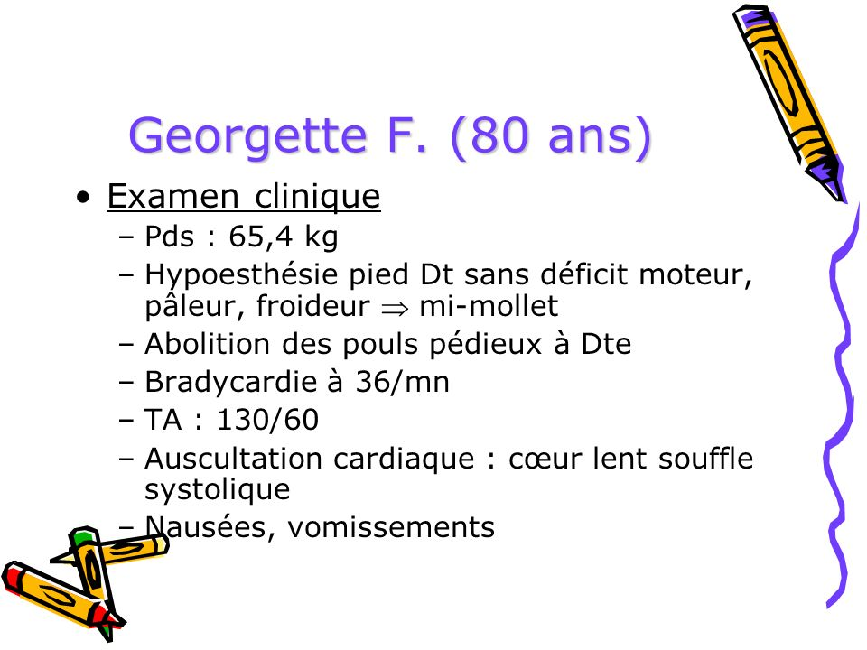 Georgette F. (80 ans) Examen clinique Pds : 65,4 kg