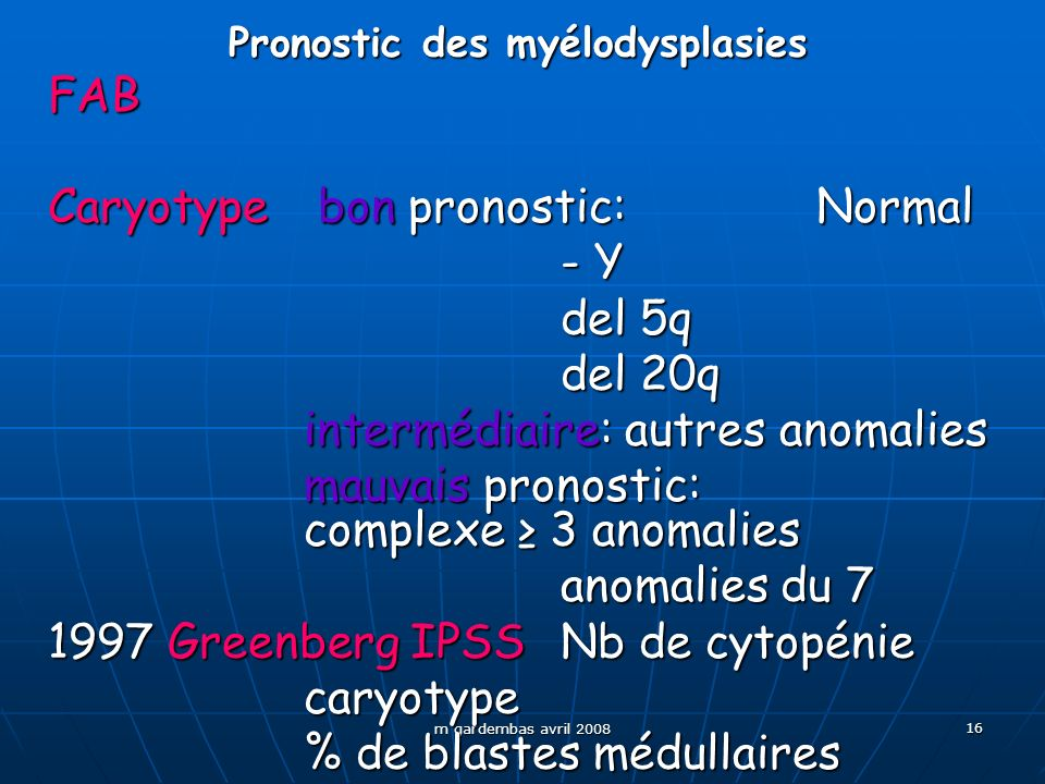 Pronostic des myélodysplasies