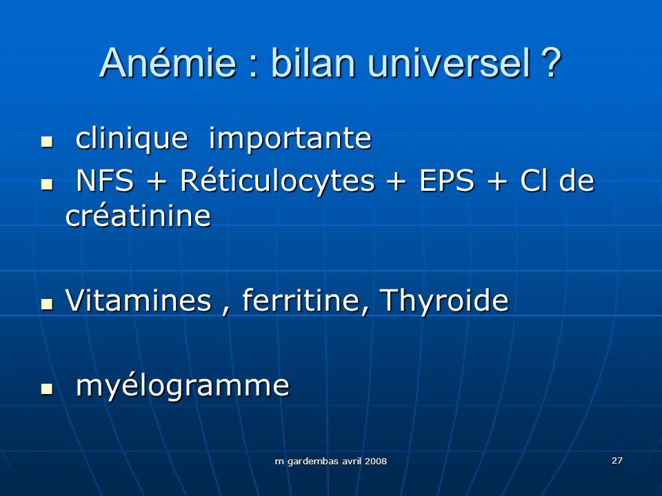 Anémie : bilan universel