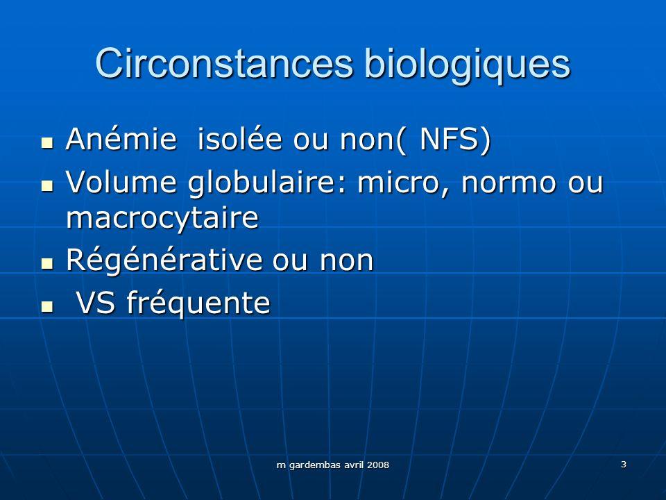 Circonstances biologiques