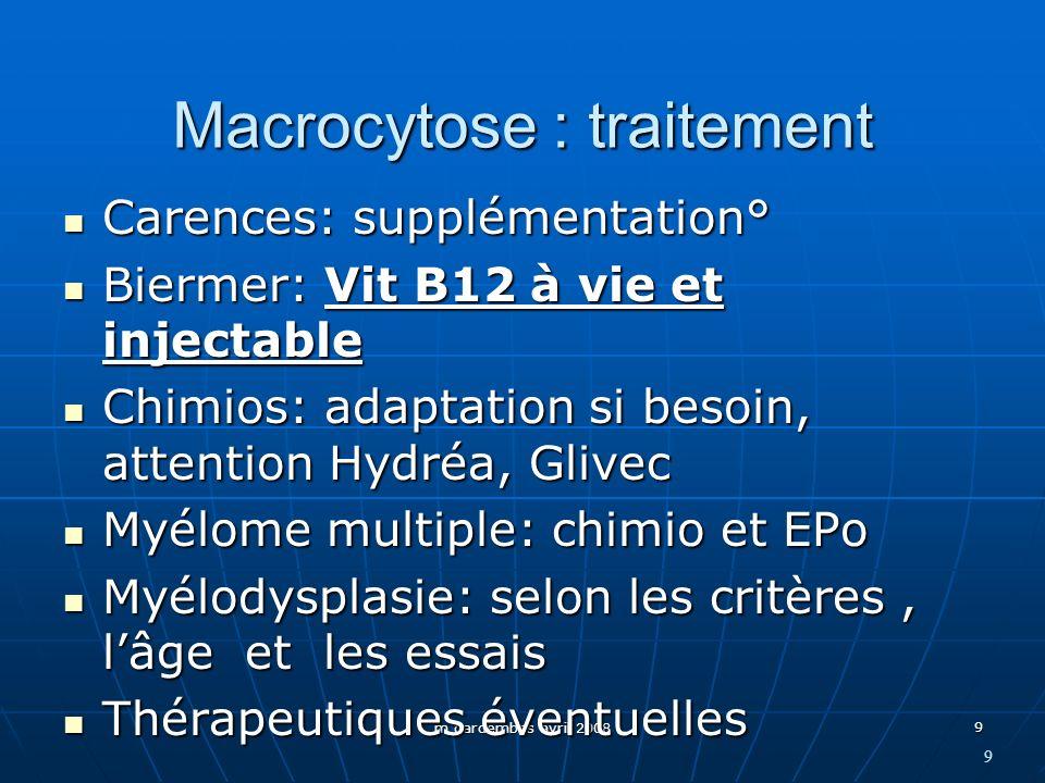 Macrocytose : traitement