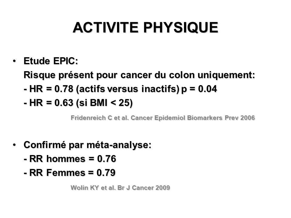 ACTIVITE PHYSIQUE Etude EPIC: