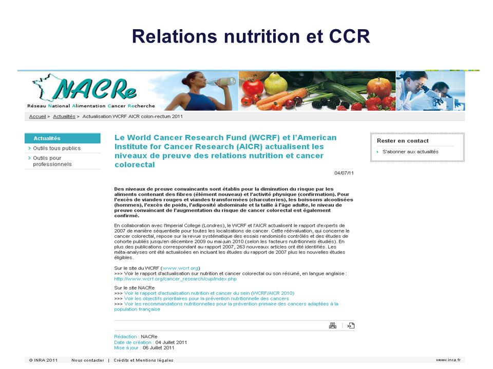 Relations nutrition et CCR