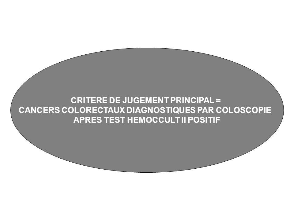 CRITERE DE JUGEMENT PRINCIPAL =