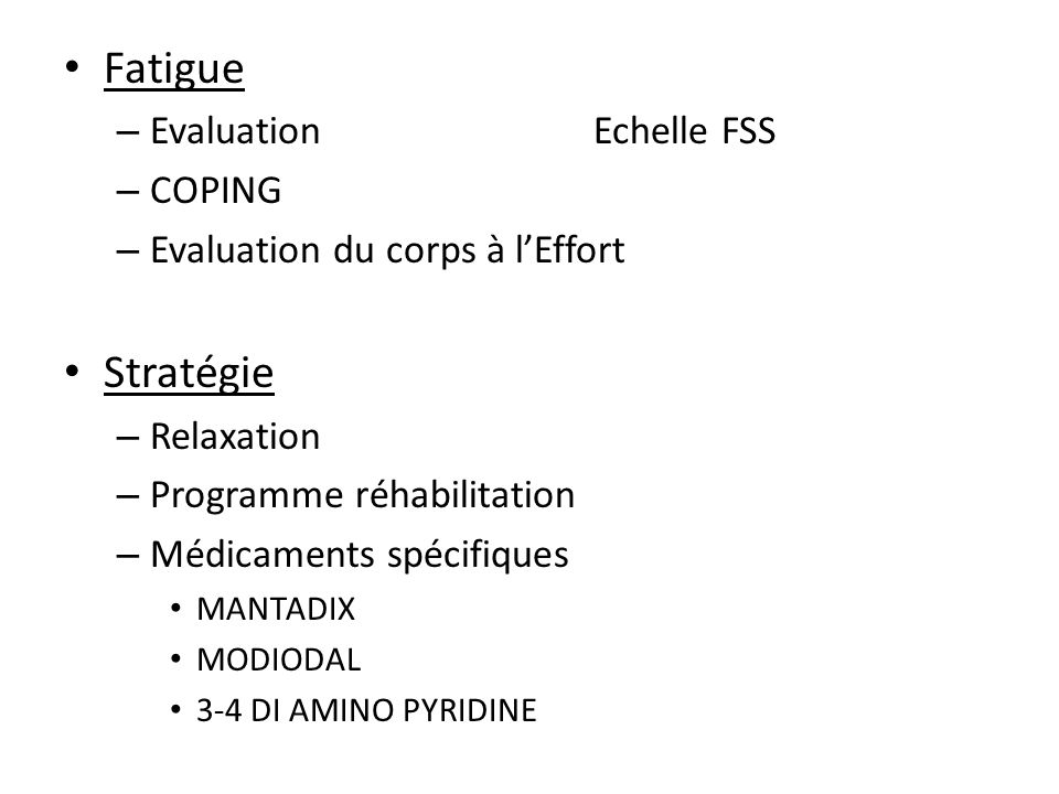 Fatigue Stratégie Evaluation Echelle FSS COPING