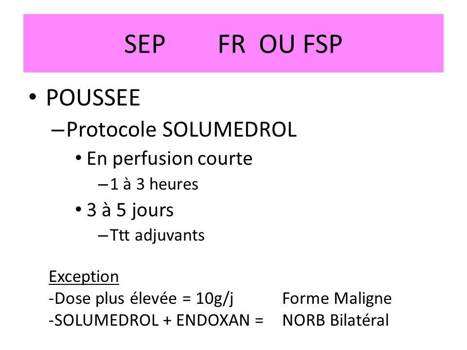 SEP FR OU FSP POUSSEE Protocole SOLUMEDROL En perfusion courte