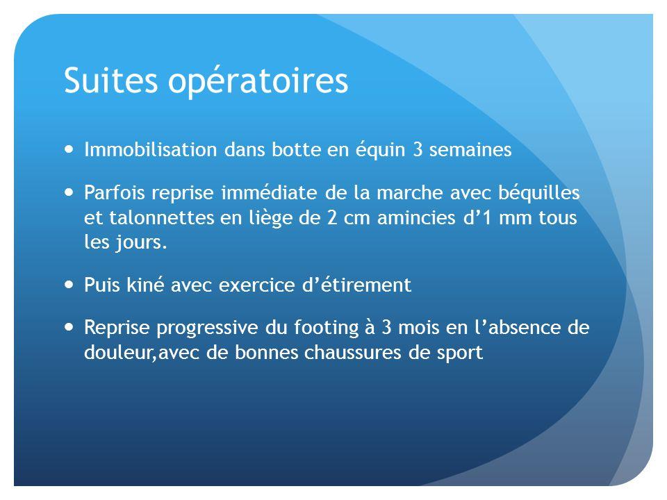 Suites opératoires Immobilisation dans botte en équin 3 semaines