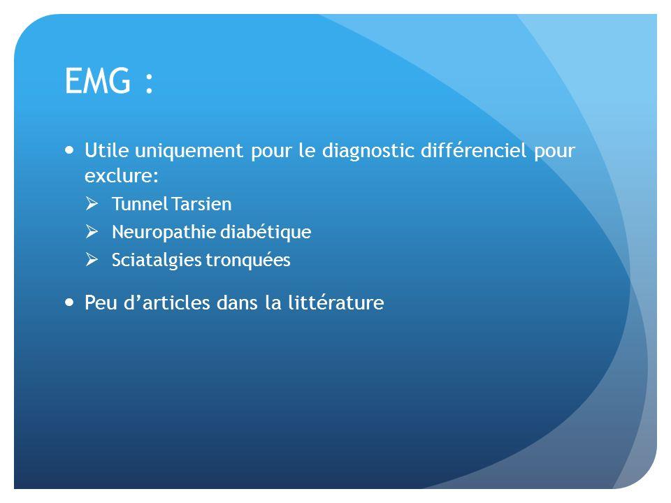 EMG : Utile uniquement pour le diagnostic différenciel pour exclure: