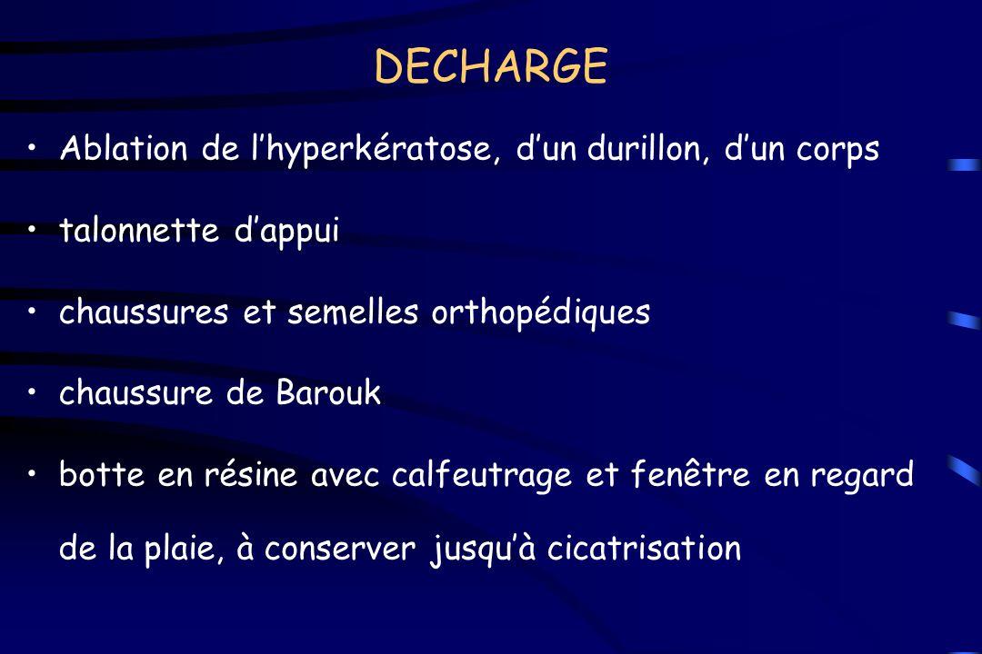 DECHARGE Ablation de l'hyperkératose, d'un durillon, d'un corps