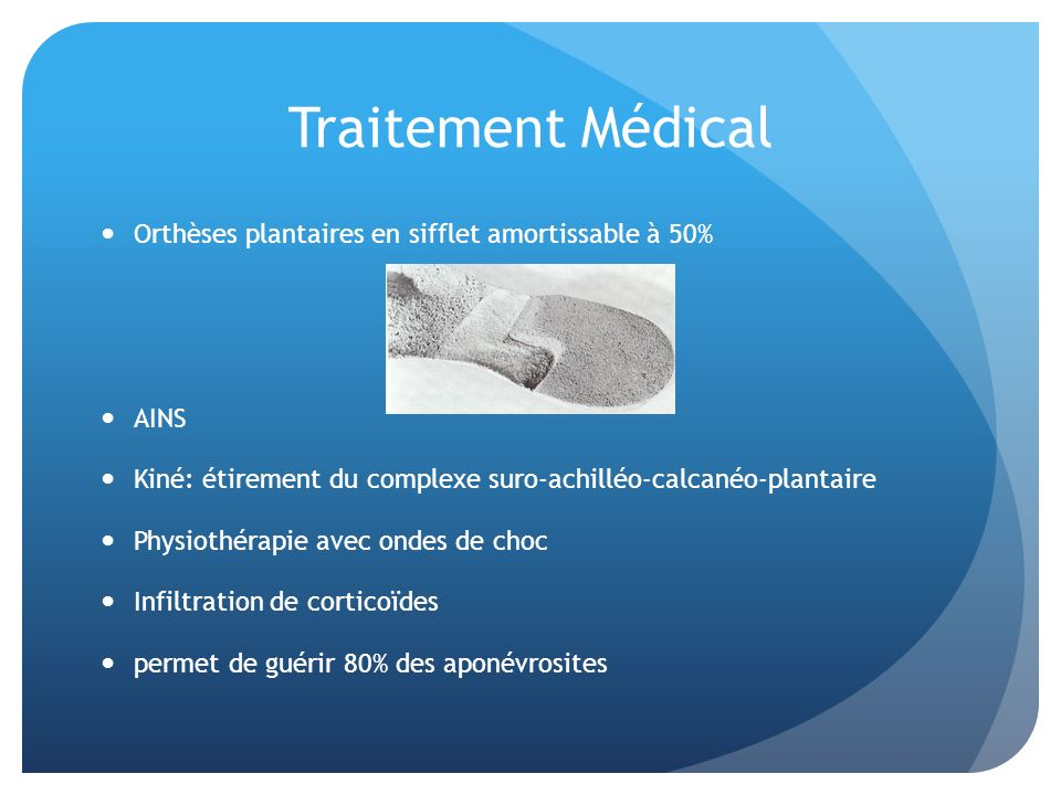 Traitement Médical Orthèses plantaires en sifflet amortissable à 50%