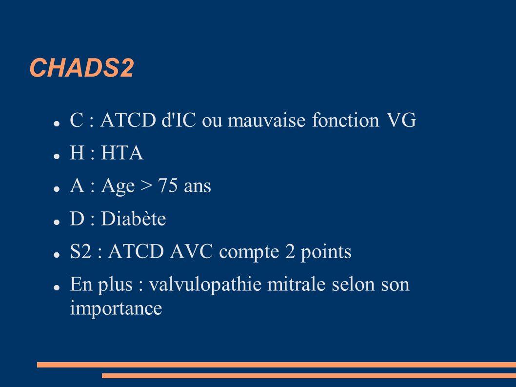 CHADS2 C : ATCD d IC ou mauvaise fonction VG H : HTA