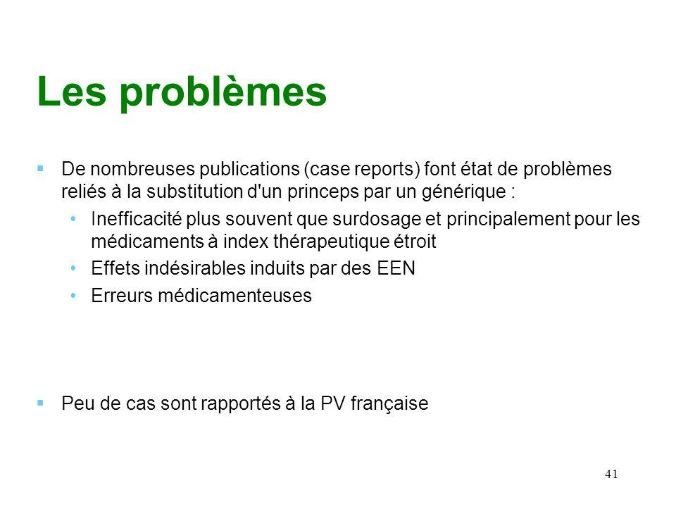 Les problèmes De nombreuses publications (case reports) font état de problèmes reliés à la substitution d un princeps par un générique :