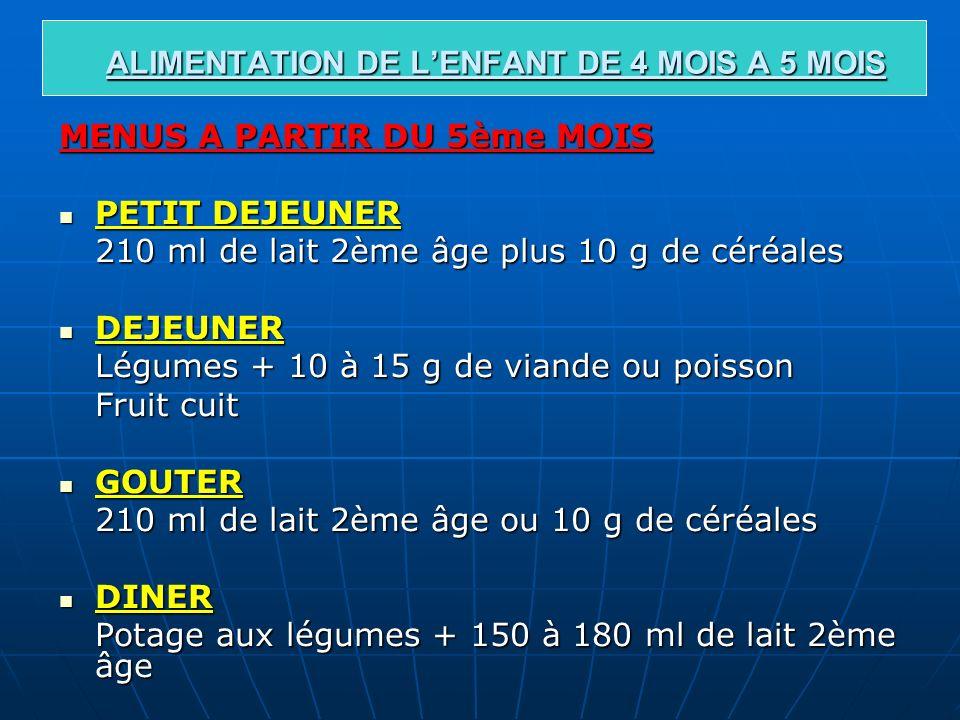ALIMENTATION DE L'ENFANT DE 4 MOIS A 5 MOIS