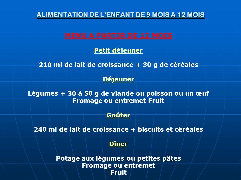ALIMENTATION DE L'ENFANT DE 9 MOIS A 12 MOIS