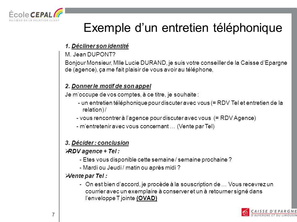 Exemple d'un entretien téléphonique
