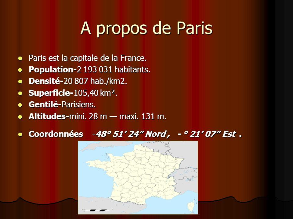 A propos de Paris Paris est la capitale de la France.