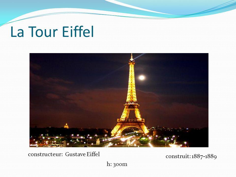 La Tour Eiffel constructeur: Gustave Eiffel construit: 1887-1889