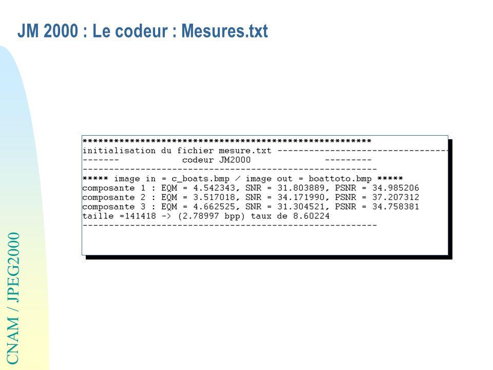 JM 2000 : Le codeur : Mesures.txt
