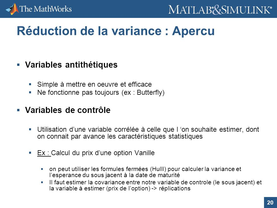 Réduction de la variance : Apercu
