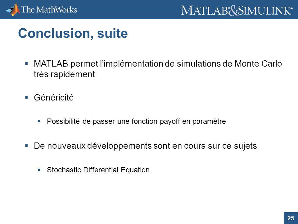 Conclusion, suite MATLAB permet l'implémentation de simulations de Monte Carlo très rapidement. Généricité.