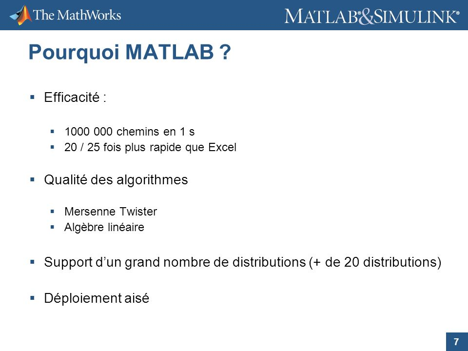 Pourquoi MATLAB Efficacité : Qualité des algorithmes