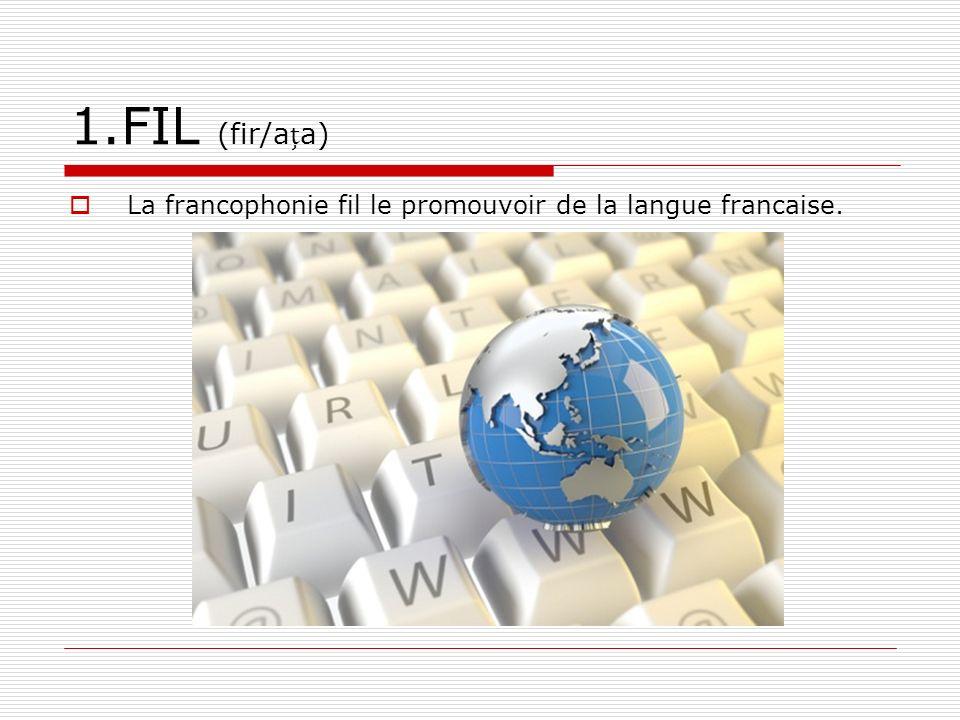 1.FIL (fir/ața) La francophonie fil le promouvoir de la langue francaise.