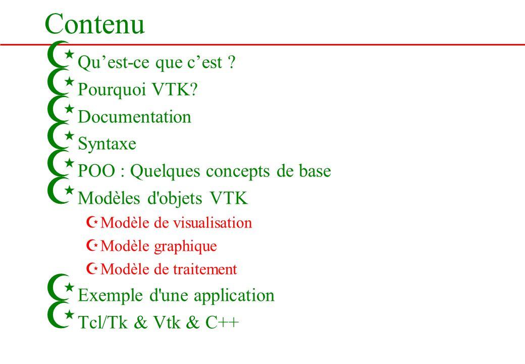 Contenu Qu'est-ce que c'est Pourquoi VTK Documentation Syntaxe