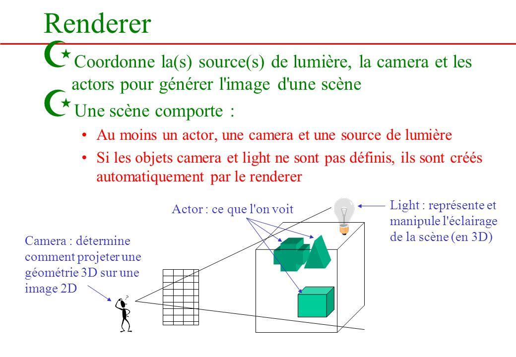 Renderer Coordonne la(s) source(s) de lumière, la camera et les actors pour générer l image d une scène.