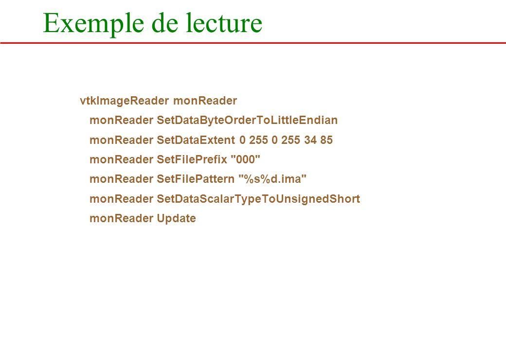 Exemple de lecture vtkImageReader monReader
